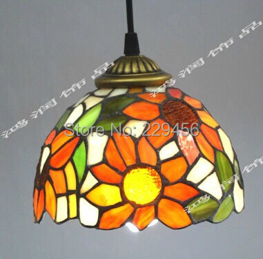 цены Tiffany Stained Glass Lampshade Pendant Light Country Style Sunflower Pattern Luminaires E27 110-240V