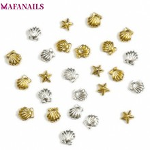 100PCS 3MM&5M 3D Metal Sea Shell Starfish Nail Studs Mixed Gold Silver Art Spike Tips Stickers Accessories DJS03