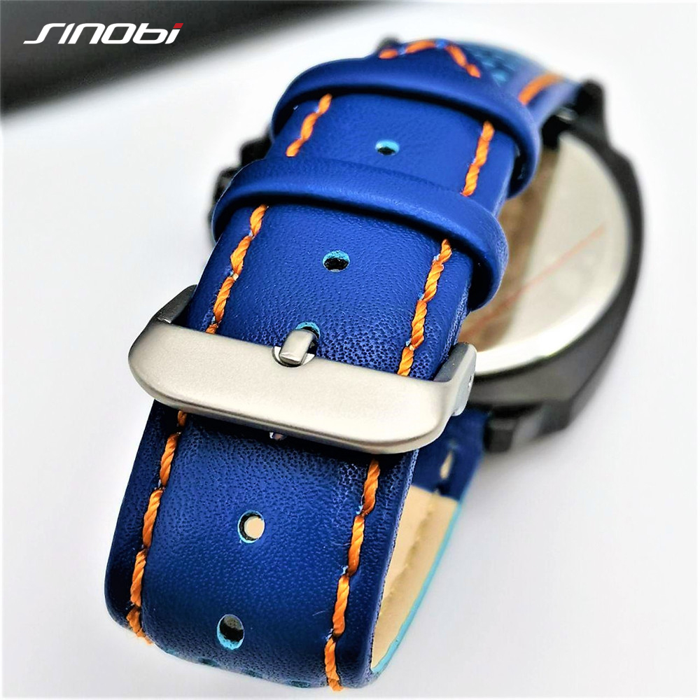SINOBI Mens Watches Top Luxury Brand Waterproof Sports Wrist Watch Chronograph Quartz Military Genuine Leather Relogio Masculino