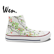 Wen Original Shoes Hand Painted Design Custom Sneakers Pink Rose Flowers Floral Men Women's High Top Canvas Sneakers