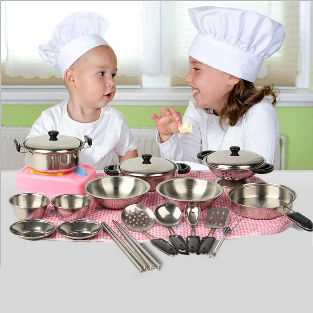 Crianças Engraçado kitchenToy 1 Conjunto 20pc Panelas Panelas Panelas De Aço Inoxidável de Prata Em Miniatura Brinquedo Pretend Play Presente Para O Miúdo