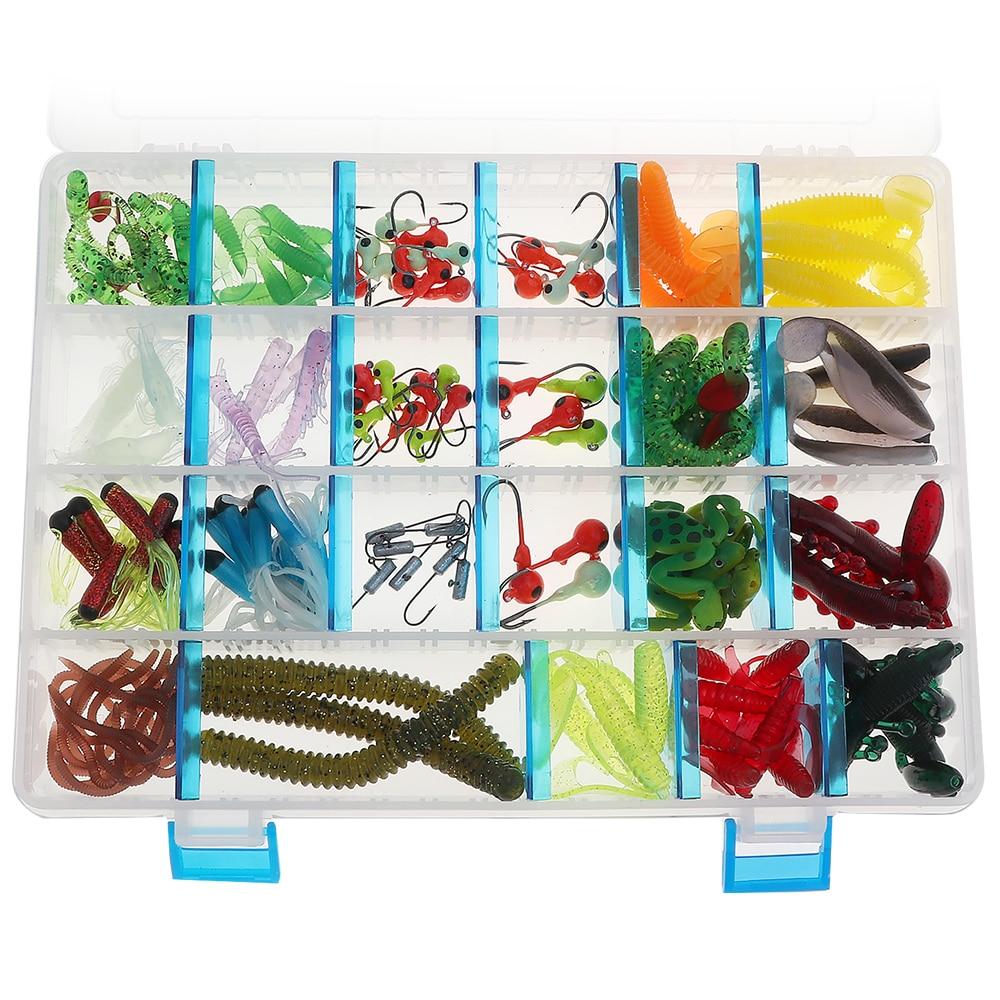 Artificial Fishing Soft Lure Kit 146pcs Include T Tail Maggot Shrimp Frog Earthworm Mermaid Baits and Luminous Lead Hooks Box lifelike earthworm style fishing baits 5 pcs