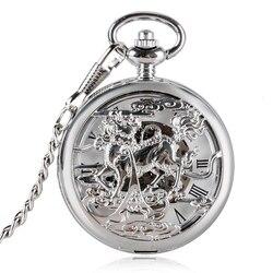 Китайский стиль Дракон Reloj Dorado Hombre с ручным заводом часы с карманом Модные мужские полые механические Подвески с цепочкой Fob