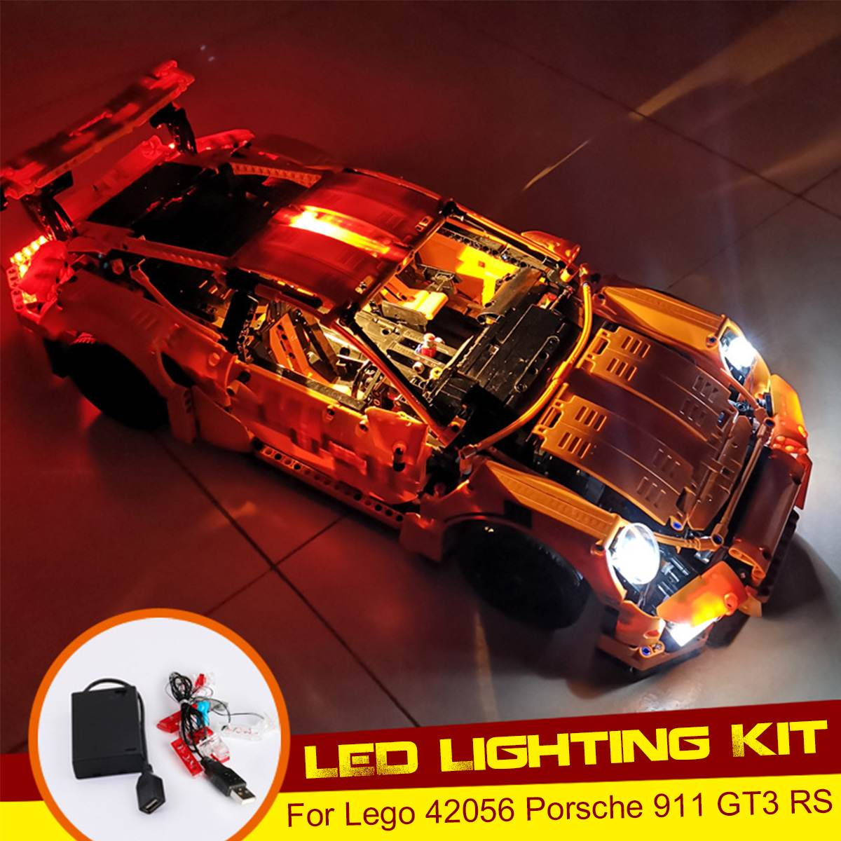 LED Lighting Kit for Lego for 42056 for Porsche 911 GT3 RS Toy Bricks Car Lighting Parts Powered by USB ( Model Not Included )