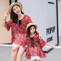 Summer mother and daughter clothing set family matching clothes black t shirt printed shirt and white short set cool clothes