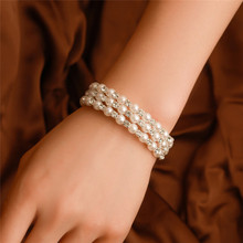 Fashion Elasticity Bracelet Simulated Pearl Multilayer Beaded Charm Wide Cuff Bracelets Bangles For Women 2019 Wedding Jewelry