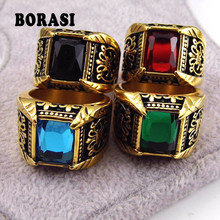 Brand Jewelry Vintage Antique Gold Color Crystal Ring For Men Stainless Steel Big Square Stone Finger Ring Male Men Jewelry(China)