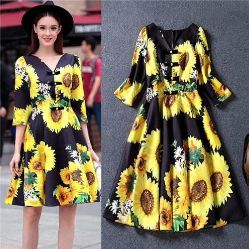 Yellow sunflower dresses for women