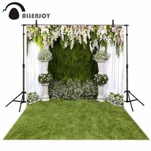 Image 2 - Allenjoy Wedding photography backdrop garden flower spring green grass background photo studio photocall photophone party decor