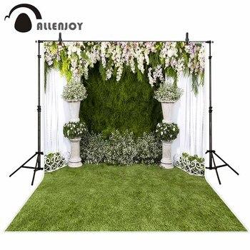 Allenjoy Wedding photography backdrop garden flower spring green grass background photo studio photocall photophone party decor