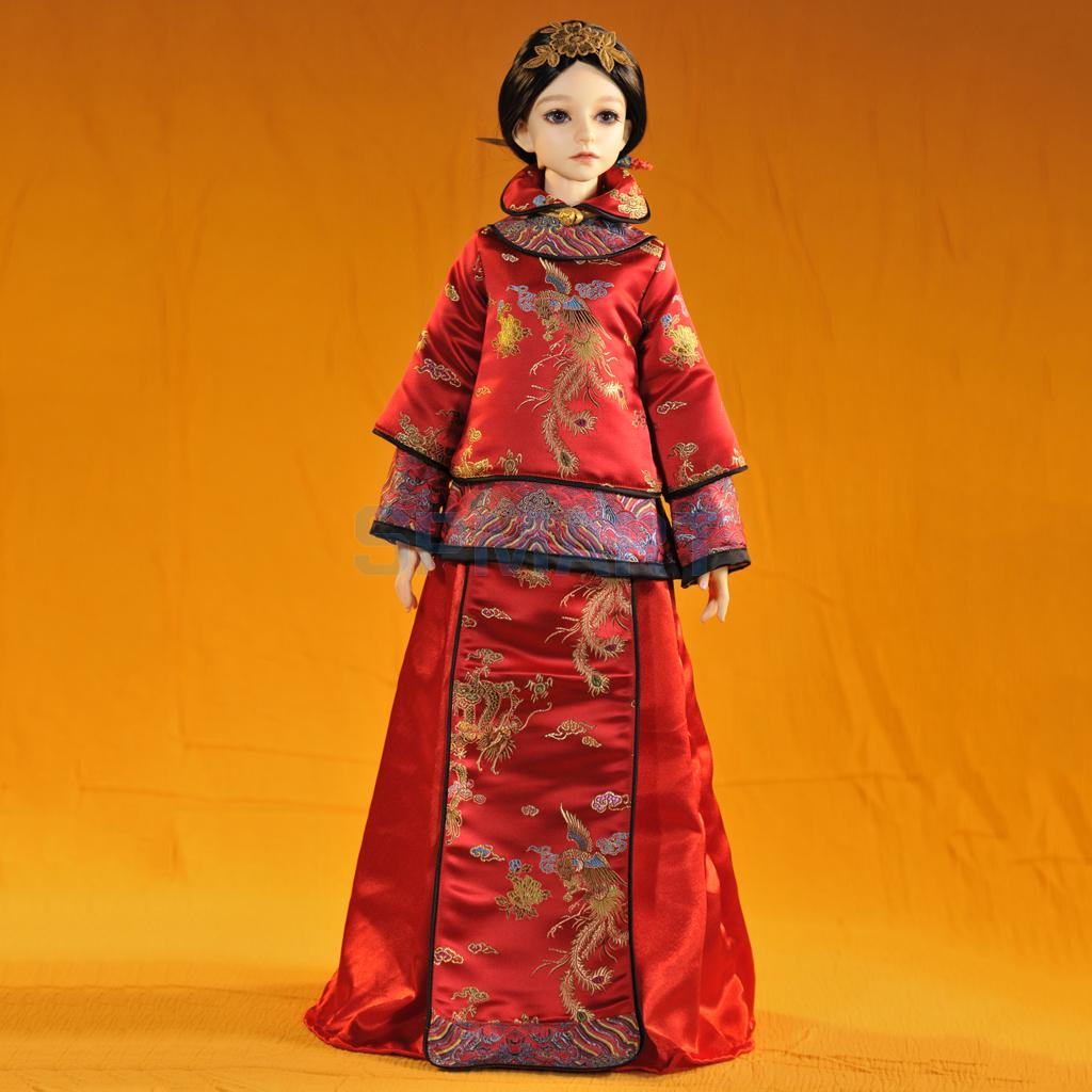 Vintage Deluxe Embroidery Dress Outfit with Headdress for 13 BJD SD AS DZ Dollfie Dolls Clothing