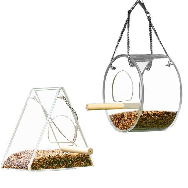 Креативная акриловая кормушка для птиц коробка для еды анти-разбрызгивающая кормушка для попугаев с подставкой круглый треугольник Белка ...