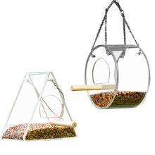 Creative Acrylic Bird Feeder Food Box Anti-scatter Parrot With Stand Round Triangle Squirrel Proof