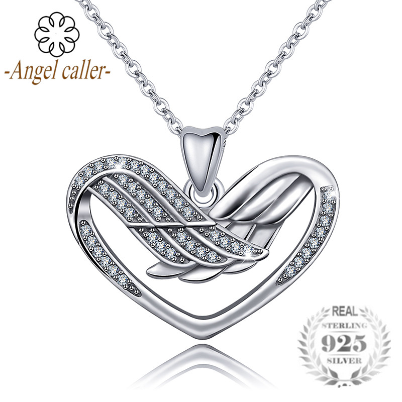 Angel Caller Real 925 Sterling Silver Heart with Wing Pendant Necklaces Luxury Zircon Fine Jewelry for Women Girls Gift