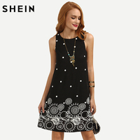 SHEIN Polka Dot Tribal Print Swing Tank Dress
