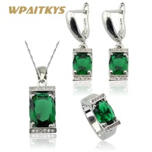 New Arrival Green Created Emerald Silver Color Jewelry Sets For Women Necklace Pendant Earrings Rings Free Gift Box все цены