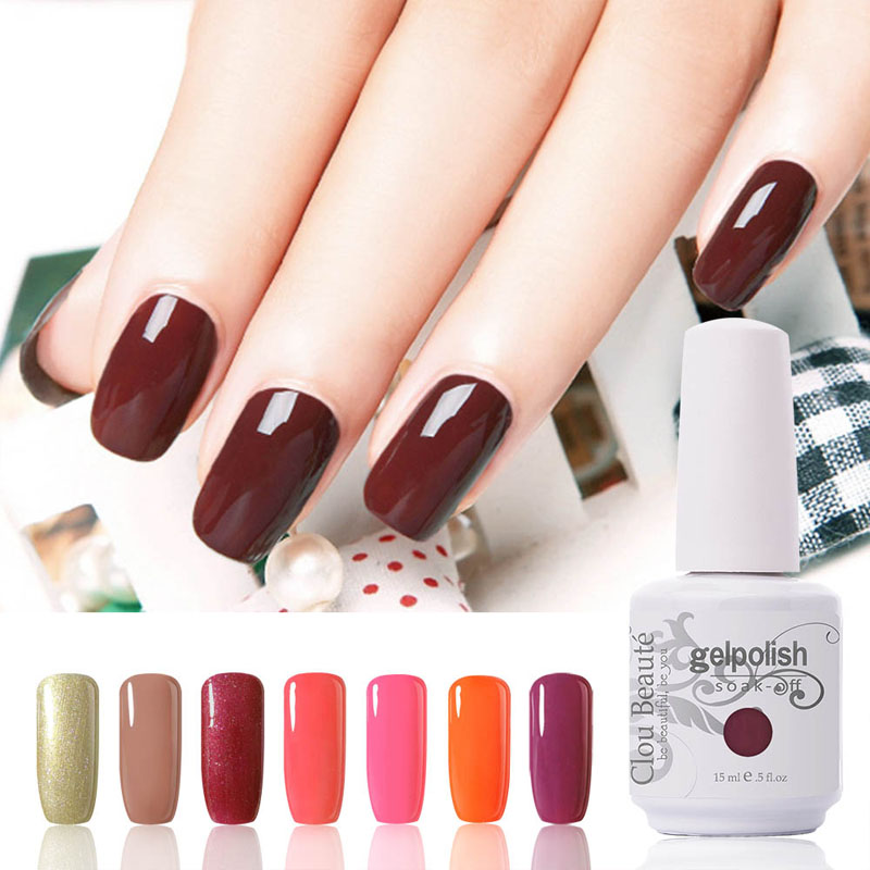 Hot Sale Clou Beaute 15 ml Kuku Perancis Gel Warna UV Gel Nail Kit Memilih 1 Warna Mode Rendam Off LED UV Kuku Gel Polish