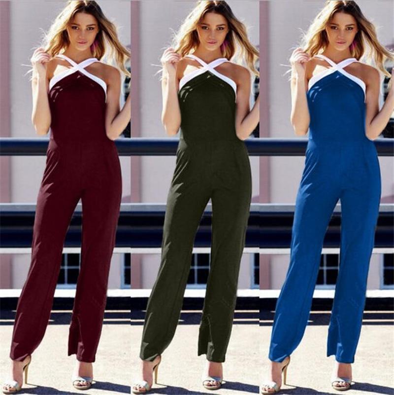 Summer Wide Leg Halter Jumpsuits 2018 Women's Girls' Elegant Long Pants Romper Casual One Piece Party Jumpsuit Plus Size Overall 4