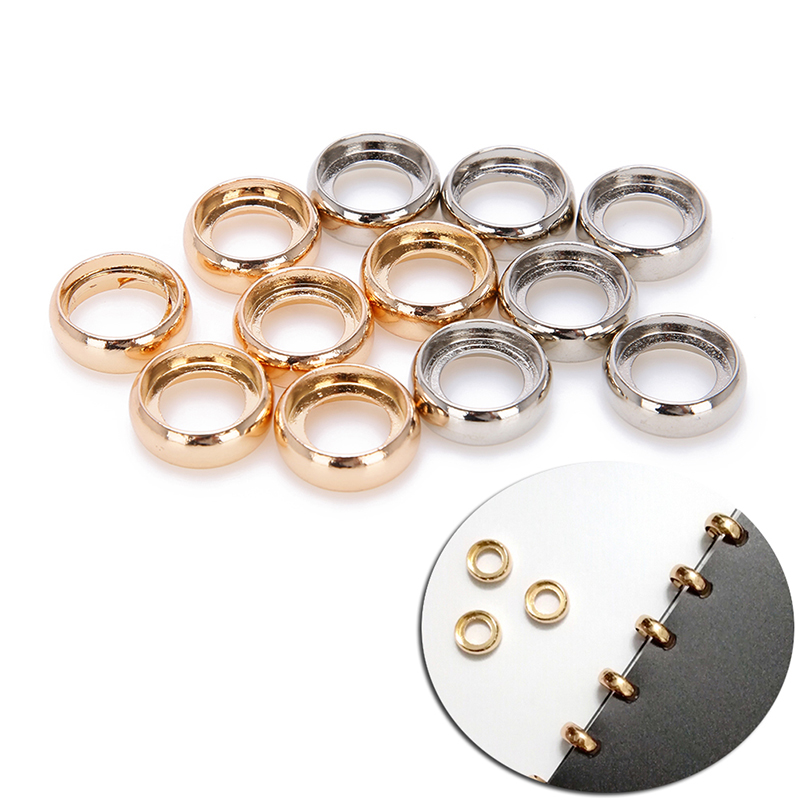 Office Binding Supplies 6pcs/pack Metal Gold/silver Loose Leaf Book Binder Hinged Rings Keychain Bronze Album Notebook Folder Accessories