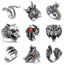 Free Fan Gothic Punk Vintage Dragon Men Ring Jewelry For Women Snake Tiger Skull Steampunk Stainless Steel Rings Male(China)