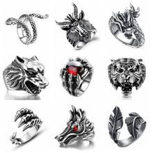 4cad14071706 Libre ventilador Punk gótico Vintage dragón anillo de los hombres de la joyería  para las mujeres serpiente Tigre cráneo Steampun.