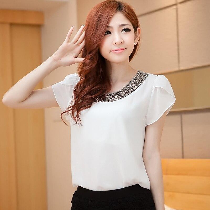 S Xxl 2016 New Womes Summer Casual White Cute Shirt Short -6383