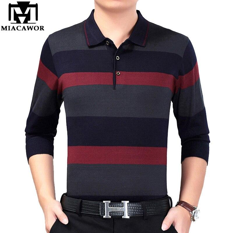 MIACAWOR New Brand   Polo   Shirt Men Spring Long sleeve Men   Polo   Striped Knitwear Camisa   Polo   Masculino Casual Men Tee Shirt T685