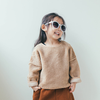 1-2 Years Old Purple Khaki Baby Long Sleeve T-shirt Solid Autumn Winter Fleece Pullover Warm Outerwear Kids Soft Thicken Tops