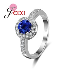 JEXXI Romantic Party Wedding Accessories 925 Sterling Silver Luxury Blue Crystal CZ   Stone Ring Bijoux Anillo Wholesale