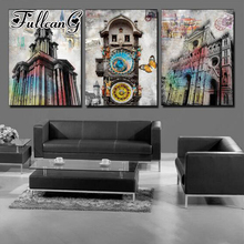 FULLCANG triptych 5d mosaic embroidery classical building diy 3pcs diamond painting cross stitch kit full square drill G1230