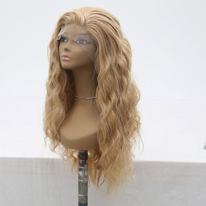 Image 2 - Bombshell סינטטי תחרה מול פאה טבעי גל לערבב בלונד עמיד בחום סיבי שיער טבעי קו שיער צד חלק עבור נשים בנות
