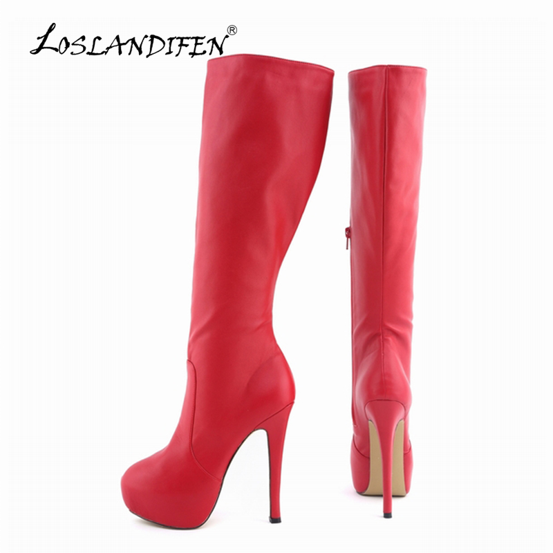 067afe3c993 LOSLANDIFEN Womens Matte Leather Pointed Toe High Heels Autumn Winter Mid  Calf Knee Wide Leg Stretch Boots US Size 4-11 819-6MA