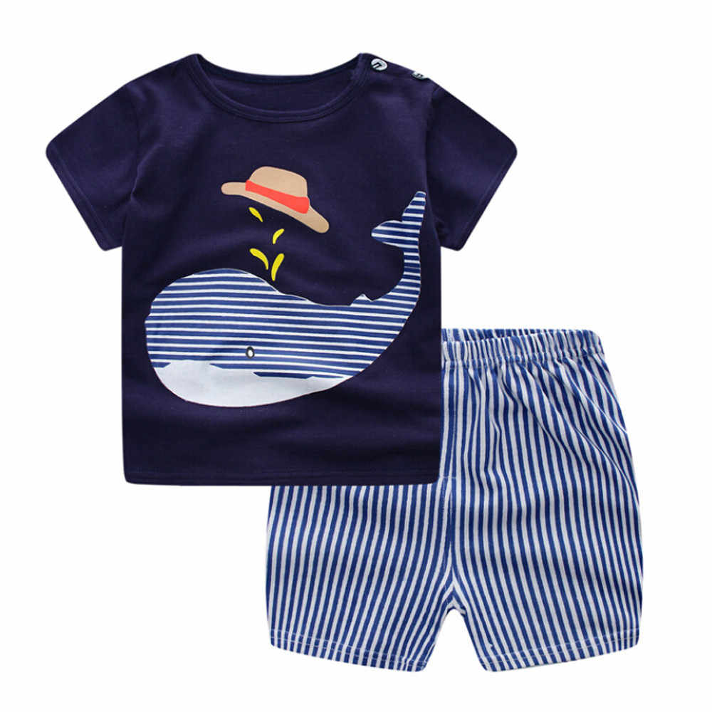 Whale Print Top Striped Shorts Cute Fashion Newborn Infant Baby Boys Girls Cartoon Whale Tops Shirt+Pants Outfits Set F4