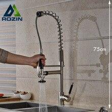 Роскошные 75 см Высота Кухни Смесители Однорычажный Матовый Никель Свободные руки Распылитель Кухонный Кран