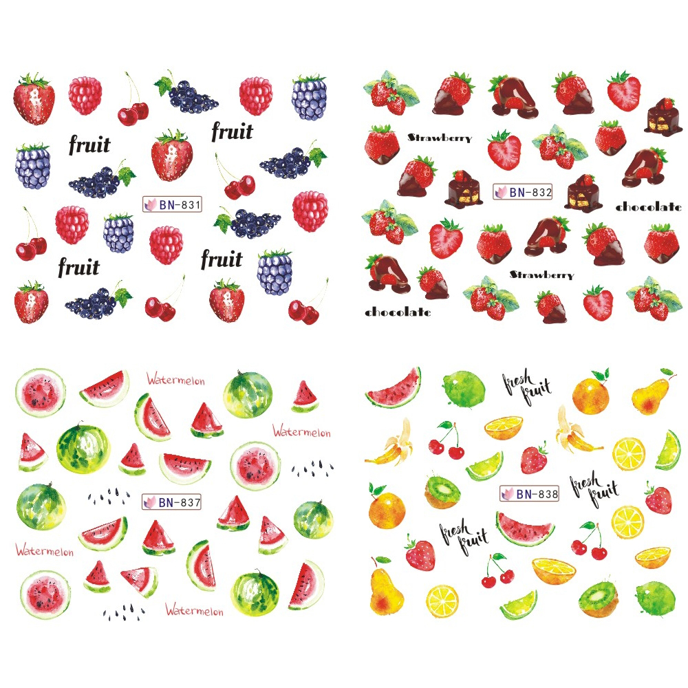 Image 3 - Mixed 12 Fruit Nail Sticker Set Lemon Water Decals Transfer Colorful Slider Tips Nail Art Watermelon Decor SABN829 840-in Stickers & Decals from Beauty & Health