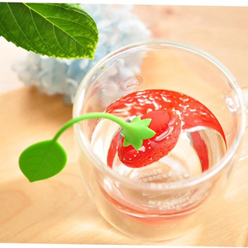 Lovely Silicone Strawberry Tea Infuser Teabag Kettle Loose Tea leaf Strainer Ball Holder Herbal Spice Filter Tea Teapot Tool 7D