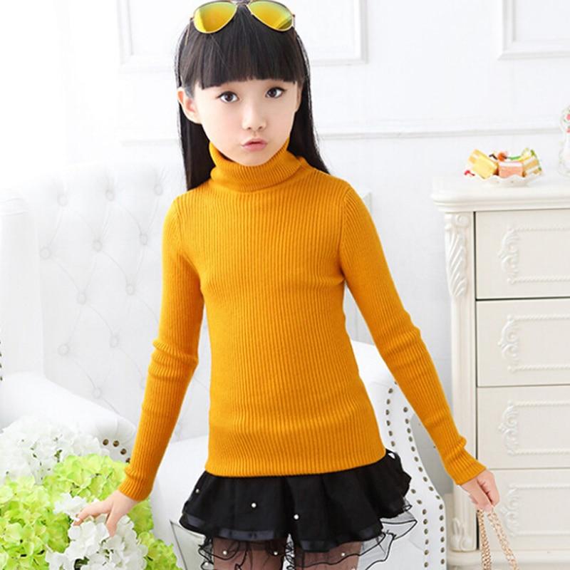 Girls Thick Sweater Child Turtlenecks Sweaters Children Outerwear ...