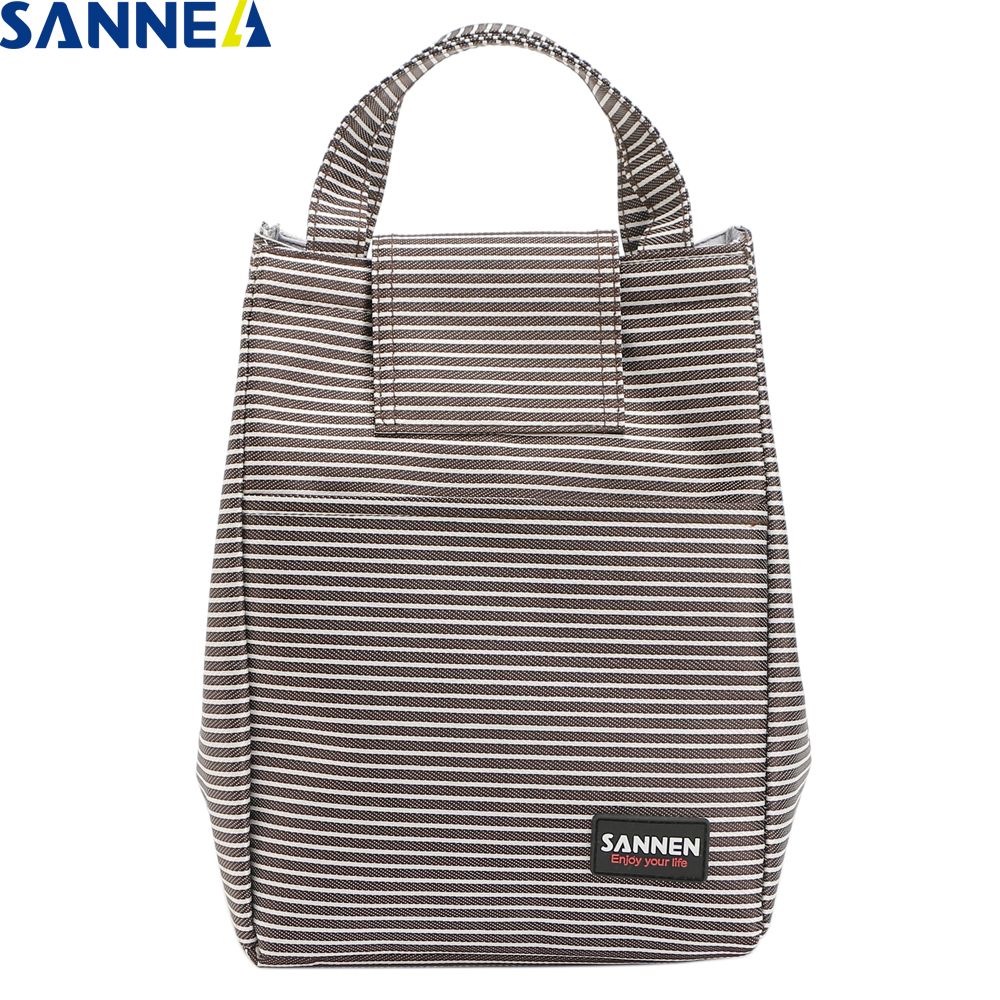 SANNE 8LThermal Insulation Lunch Bags Picnic Food bags for Women Student Stripe Simplicity Portable Bag YQ809