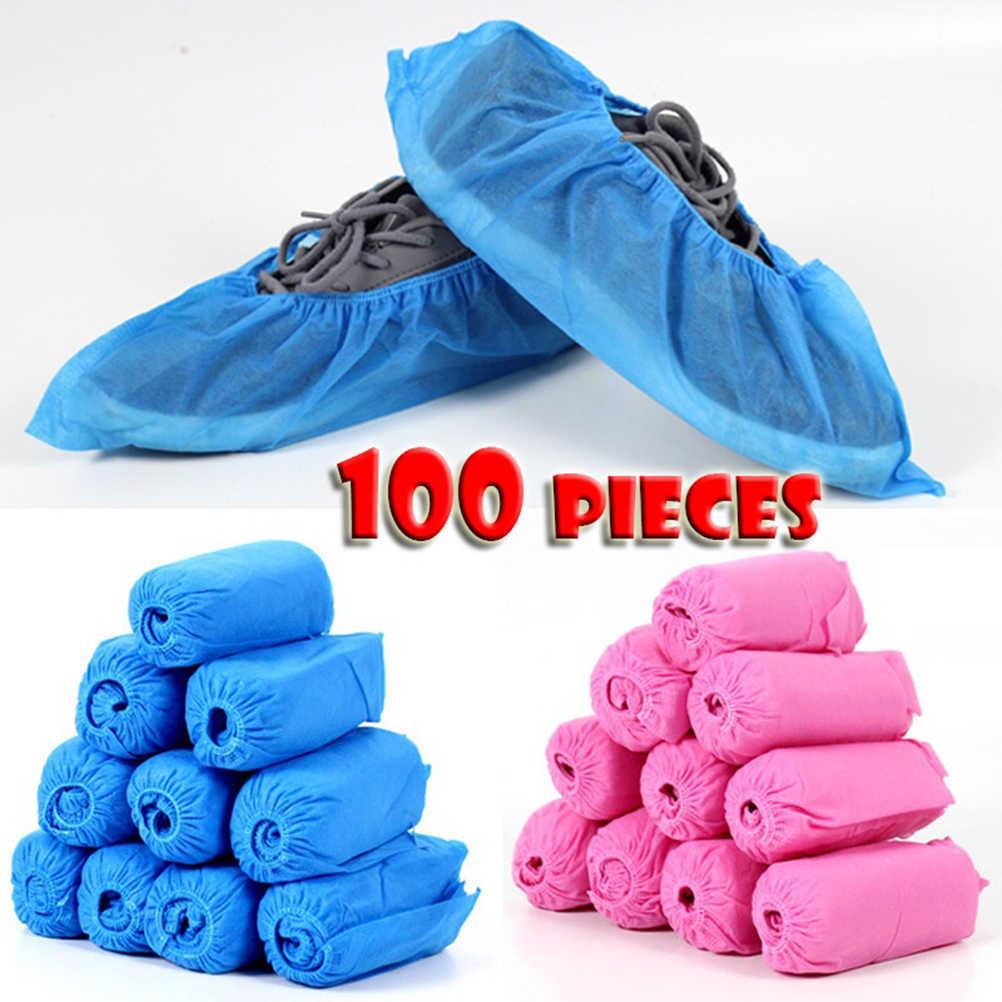 As sapatas não tecidas descartáveis de 100 pces cobrem a faixa elástica respirável dustproof antiderrapante sapato cobre conveniente azul rosa a35