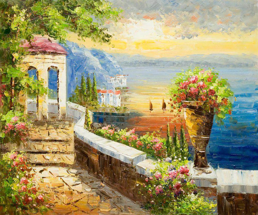 Living Room Decorative Art Mediterranean Oil Painting