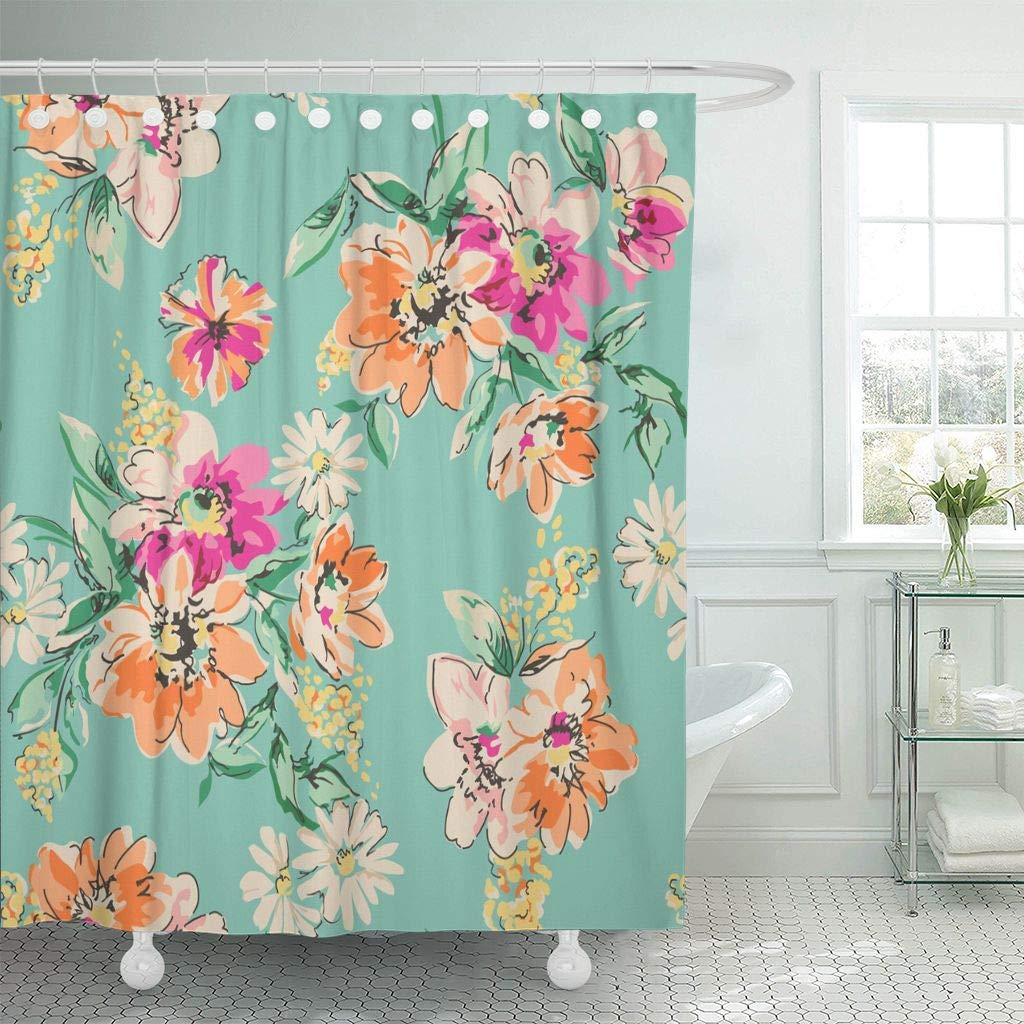 Us 17 06 36 Off Shower Curtain Hooks Orange Floral Sketched Flower In Bright Colors Blue Sketch Spring Ditsy Cute Daisy Decorative Bathroom In