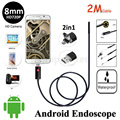 HD720P 2In1 USB Camera 8mm Lens 2M Android Endoscope USB Camera Flexible Snake Pipe Inspection Android OTG Borescope Camera 6LED