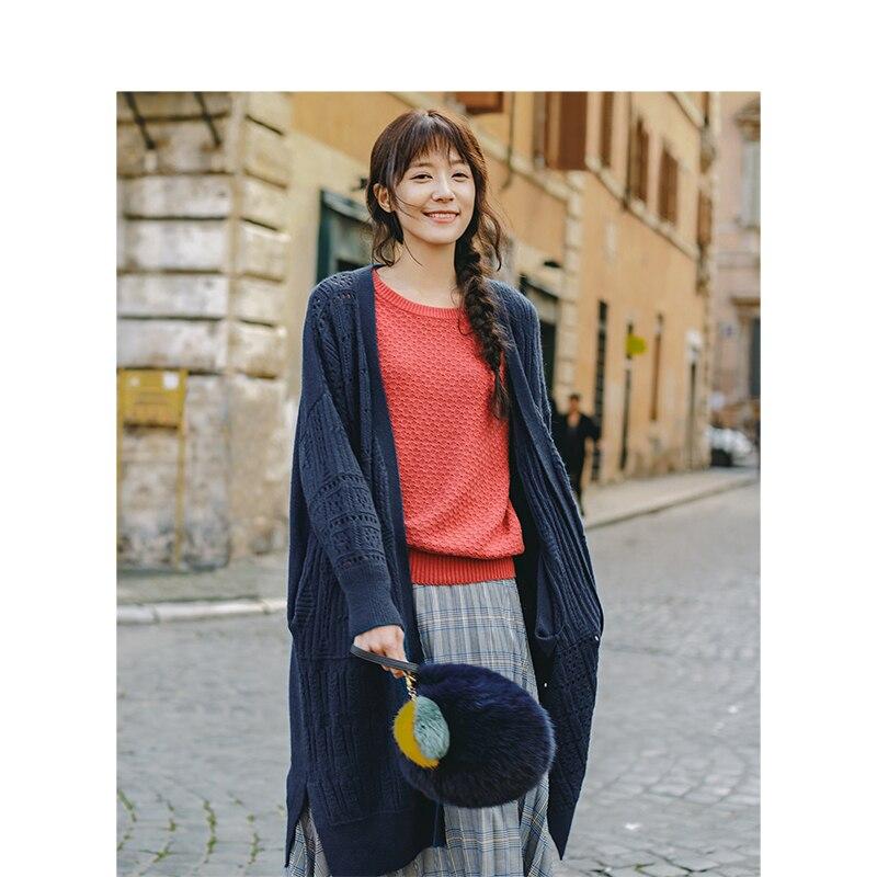 INMAN Spring Autumn Round Collar Jacquard Weave Cardigan Sweater