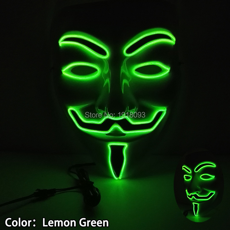 Hot Sales Lemon Green Halloween Vendetta Mask El Wire Neon Mask As Holiday Lighting For Festival Carnival Dance Night Party