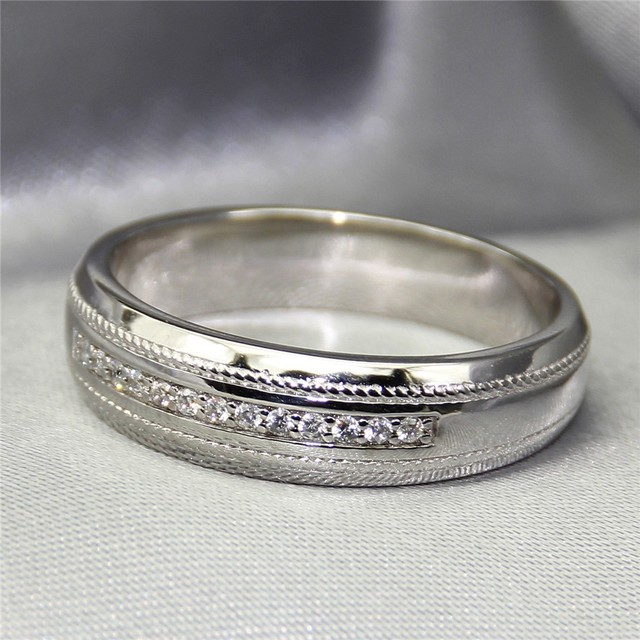 Estate Design 0.8ctw ASCD Simulated Diamond 10k White Gold Plate Platinum Wide Band Accents Eternity Wedding Band for Men