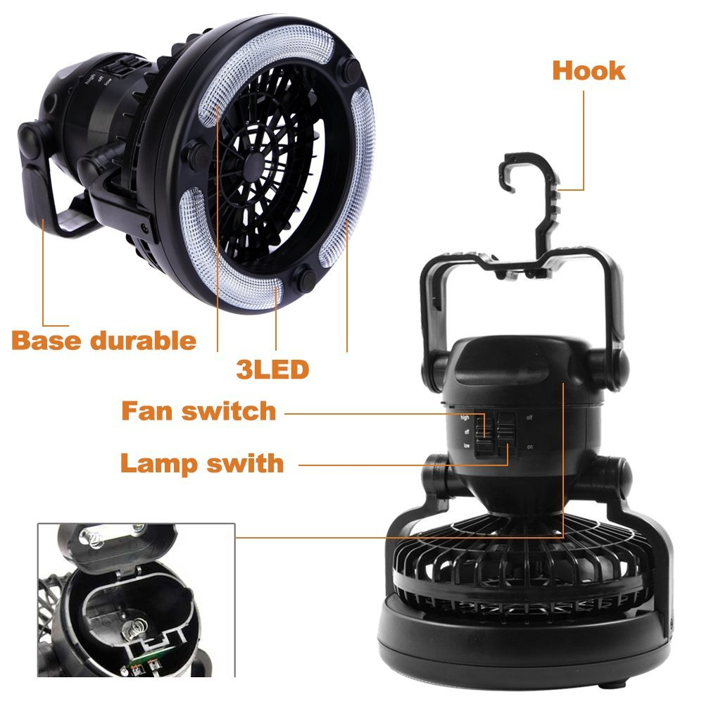 Portable Led Camping Lantern Ceiling Fan Outdoor Camping 2 In 1