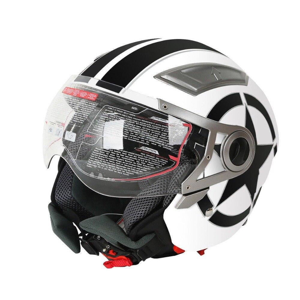 Blanc 3/4 Face ouverte double visière DOT adulte moto Scooter casque S/M/L/XL