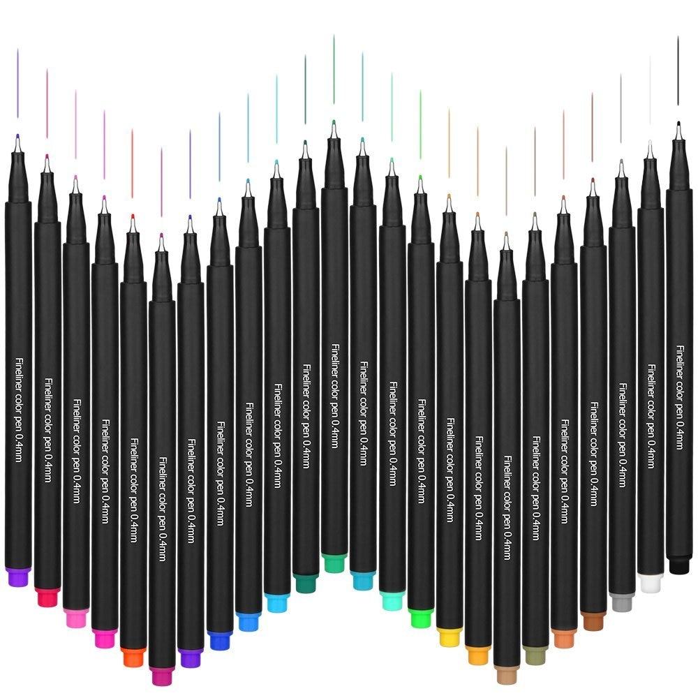 24colors Micron Liner Pen 0.4mm Fineliners Sketch Marker Drawing Pens Tekenen Art Markers Bullet Journal Coloring Fabricolor