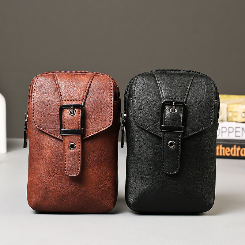 Multifunctional PU leather Bag Purse messenger Shoulder Bag man belt leather bag 2016 chest pack casual
