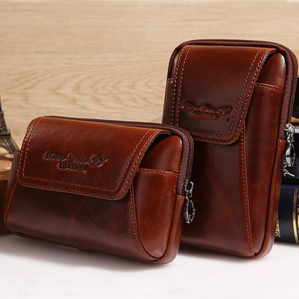 Högkvalitativ äkta läder vintage män hip bum bälte handväska Fanny pack midja väska påse mobil mobiltelefon ficka cigarett väska